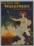 French WW1 poster - Porte plume 'Ideal' Waterman l'arme de la paix.
